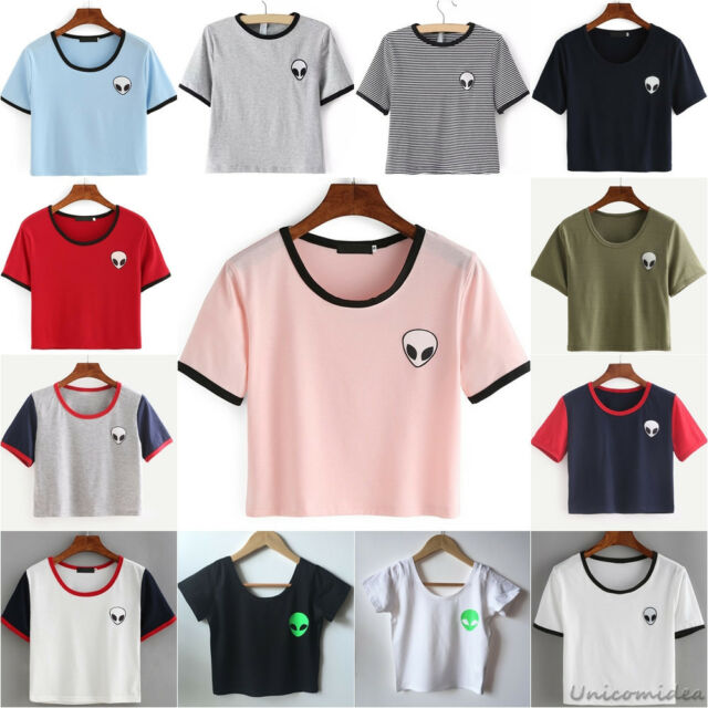 Fashion Women Summer Short Sleeve Tee Blouse Casual Crop Top Alien Print T-Shirt