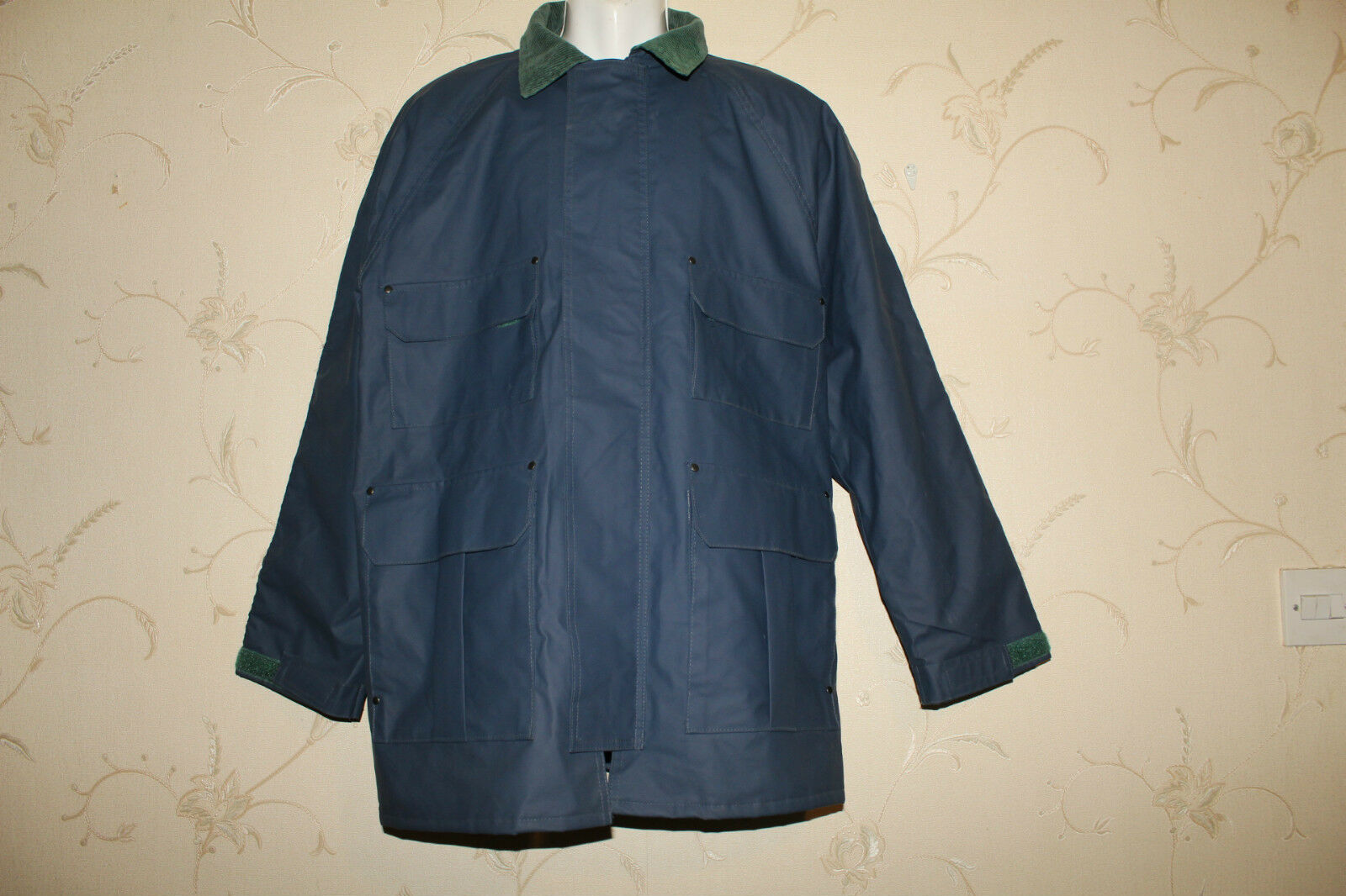 bluee CEDAR KEY Waterproof Corduroy Collar Camping Picnic Raincoat Coat Size M