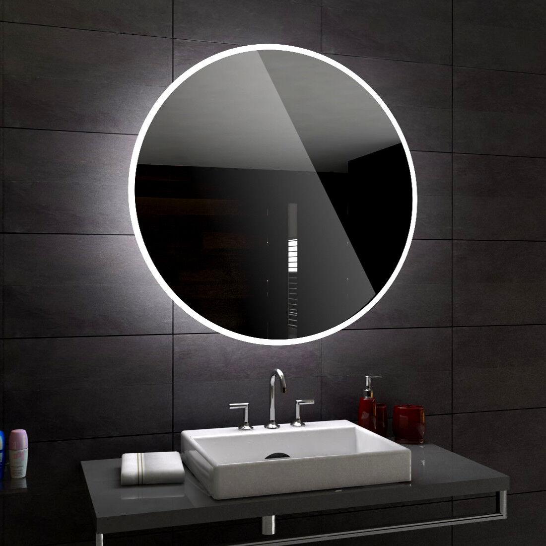 Delhi Rond miroirs de sale bain avec LED MURAL LA SALLE VERS DIMENSIONS CHAQUE