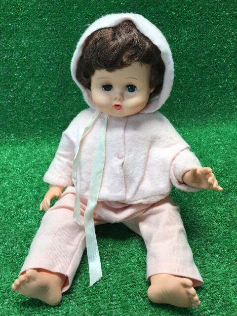 Vintage Vogue Doll Ginny Baby Brown Hair Blue Eyes Pink Easter Outfit W Ears
