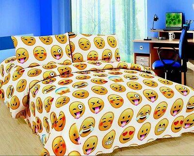 EMOJI EMOTION SMILEY POO PIZZA BEDDING BED DUVET COVER SET SINGLE DOUBLE KING