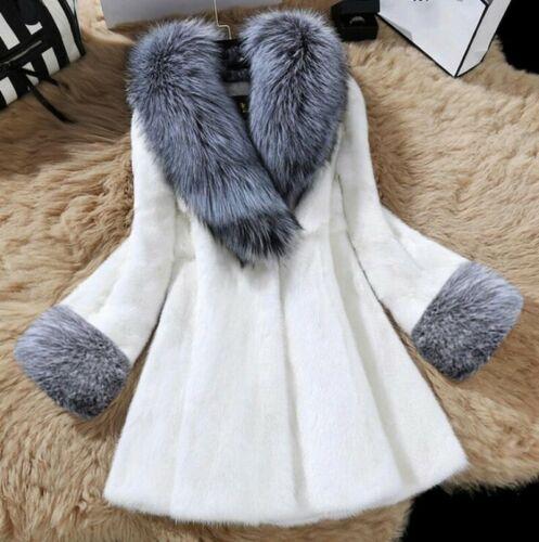 Vogue Women Lady Winter Fur Coat Faux Mink Fur with Faux Fox Fur Collar Jacket