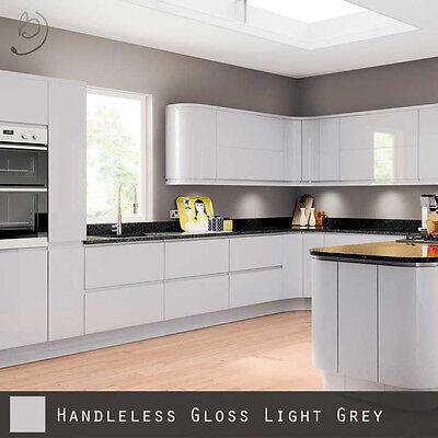 High Gloss Grey Handleless Doors, Light Grey High Gloss Kitchen Units