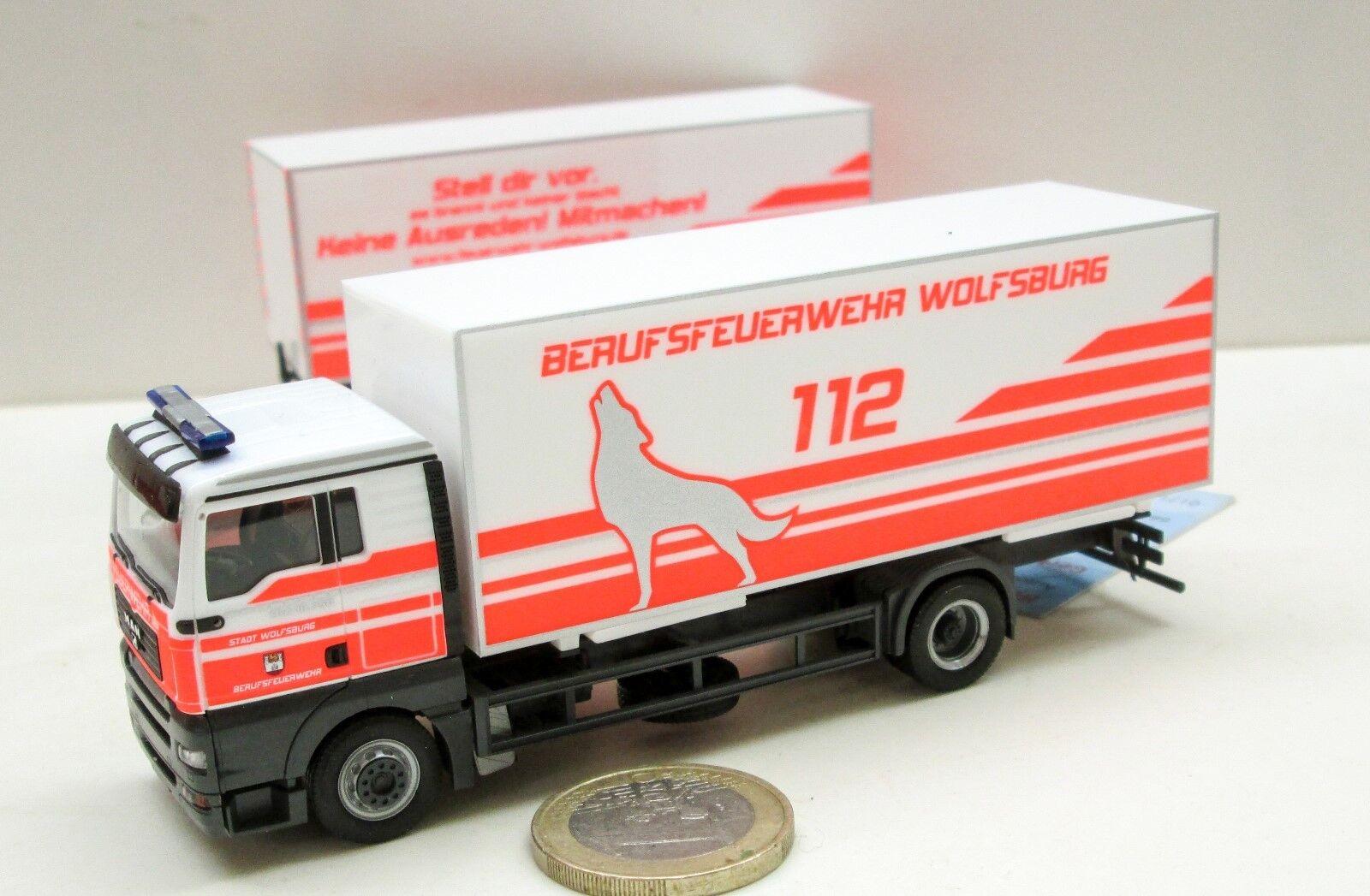 Herpa  304887  MAN TGA XL Wechselkoffer-Hängerzug  Feuerwehr Wolfsburg     Perfekt In Verarbeitung
