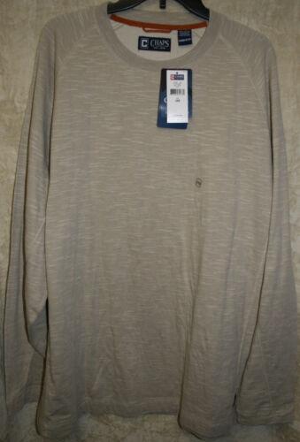 NWT CHAPS long sleeve Explorer knit shirt crew Colors Very Soft mens 100/% Cotton