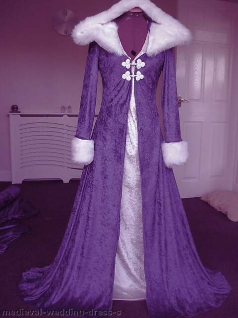 Sizes 10 18 Wiccan Pagan Long Hooded Wedding Dress Coat Cape