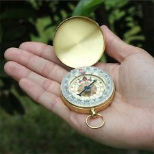 Vintage Brass Noctilucent Pocket Compass Hiking Camping Watch Style Retro ONE