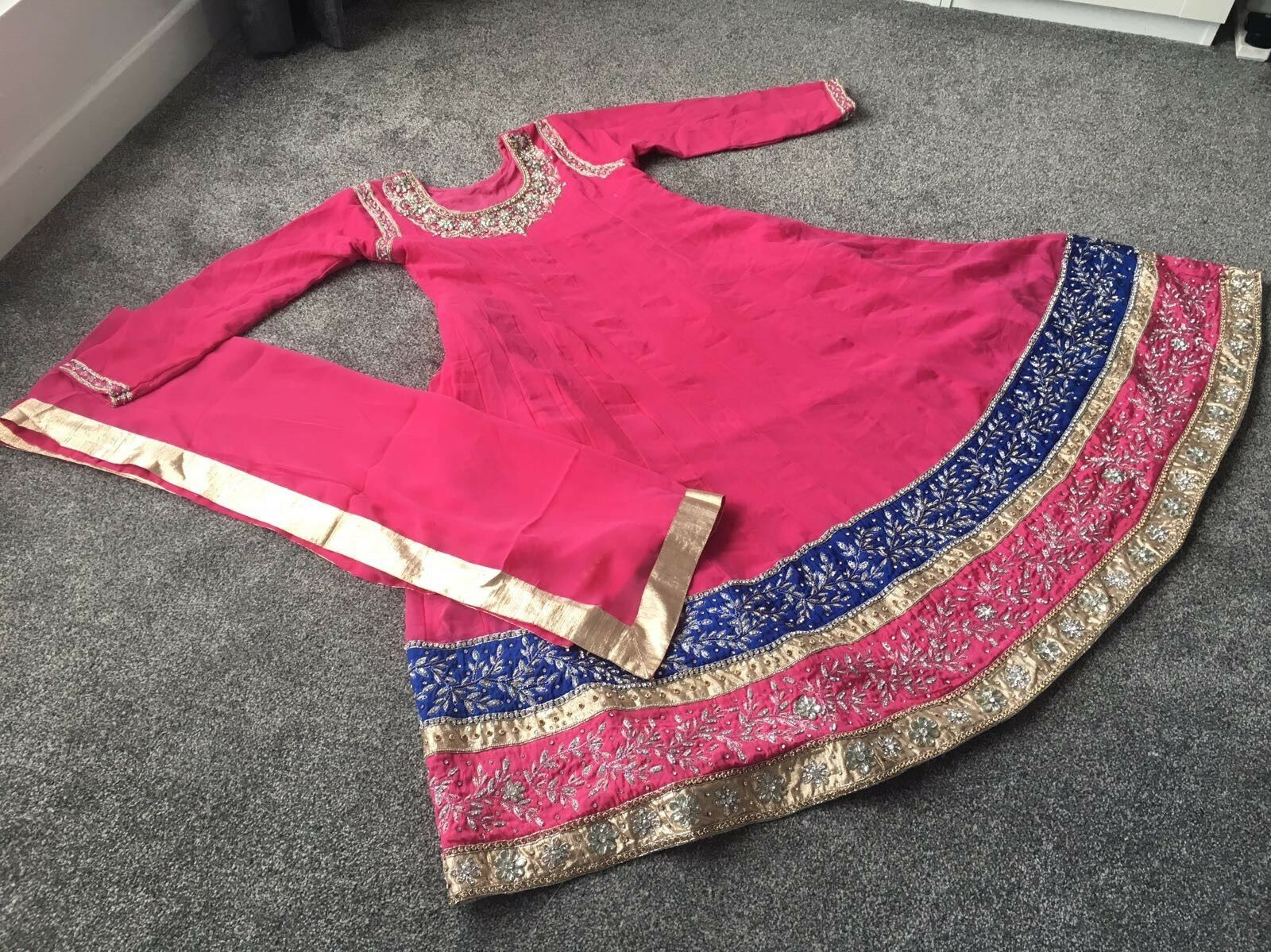 Pink long anarkali style dress size medium