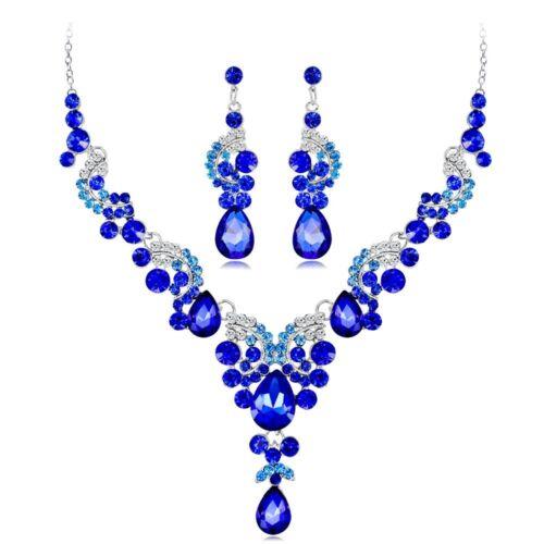 Elegant Women Water Drop Crystal Bridal Necklace Earrings Set Wedding Jewelry