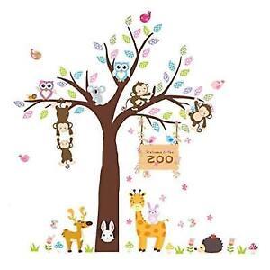 Elecmotive Cartoon Forest Animal Monkey Owls Fox Rabbits Hedgehog Tree Swing Diy