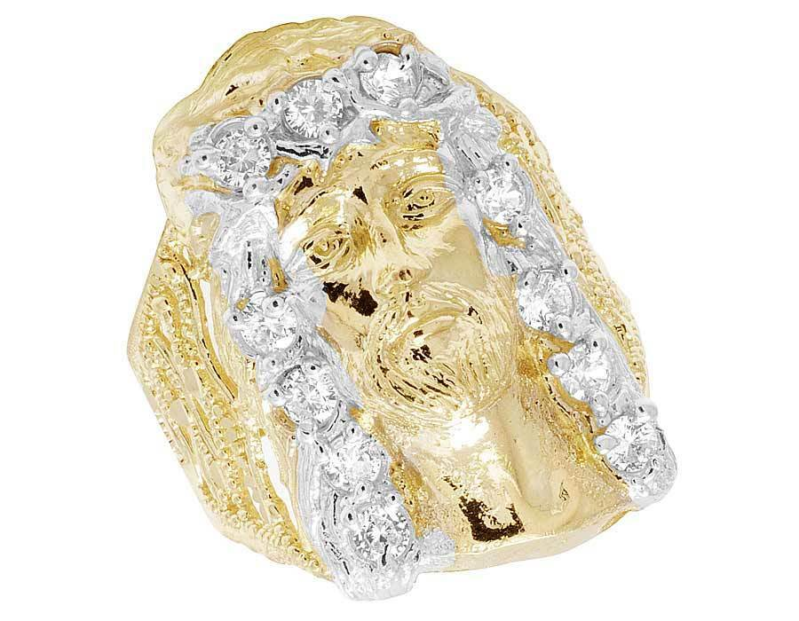 Men's Real 10K Yellow gold Simulated Diamond Jesus Face Fashion Pinky Ring 30MM