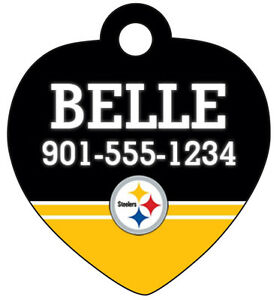 Pittsburgh Steelers Pet Id Tag for Dogs & Cats Personalized w/ Name & Number