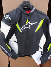NEW GP-R Perforated Leather Jacket Alpinestars Black/White/Yellow Fluorescent 48
