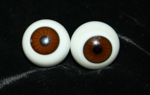 2.1 cm Germany mouth-blown Antique vtg pair brown Doll Eyes glass Ø c 13//16/""
