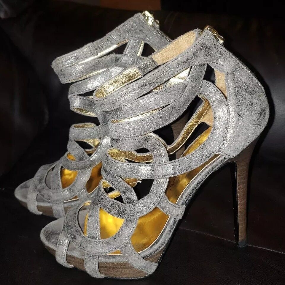Guess by Marciano Stiletto Strappy Gold Shimmer Leather Sandals Heels Größe 7M