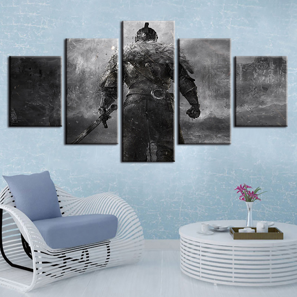 Medieval Knight Warrior 5 panel canvas Wall Art Home Decor Print Poster