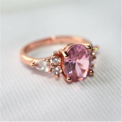 Saphir Morganit rosa pink Zirkon Damen Ring RotGold vergoldet  Gr 63  Ø20,0 mm