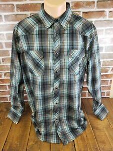 Coastal-Mens-Western-Shirt-Pearl-Snap-Long-Sleeve-Plaid-Size-XL