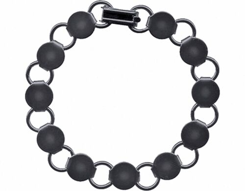 "Loop 7.2/"" 10 Gun Metal BLACK BRACELET FORMS BLANK Findings 11 Round pads Disc"