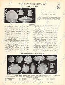 "1920s Antique Hardware Ad Pyrex Glass Ovenware-Porcelain ""Ermalina"" Dinnerware '"