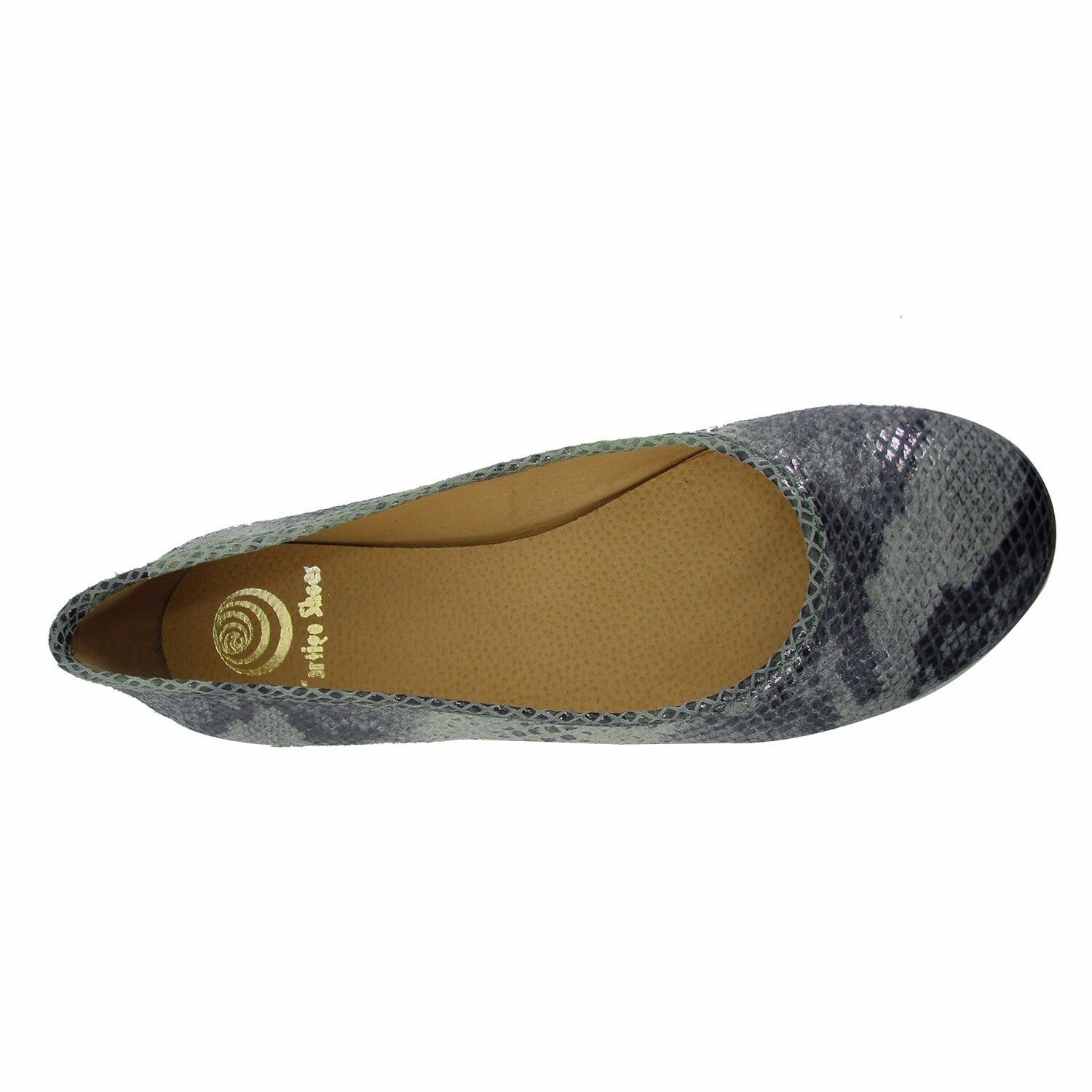 Size 12 (/ ) Mint Snake Print Leather Ballet Flats MADE IN SPAIN