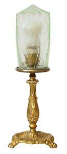 Wunderschoene-zierliche-Jugendstil-Tischleuchte-seltenes-orig-Glas-Messinglampe