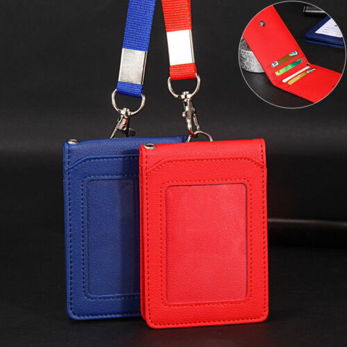 PU Leather Solid Credit Card ID Badge Holder Case Neck Strap Lanyard 5 Slots
