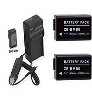 Two 2 Batteries + Charger For Panasonic Dmc-fz47 Dmc-fz47k, Dmc-fz48 Dmc-fz48k