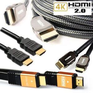 HDMI Cable v2.0 Premium & Flat HDTV 1080P 3D 4K Ultra HD ARC CES 2160p Lead 60Hz