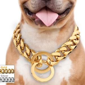 Gold-Chain-Dog-Collar-Heavy-Duty-Choke-Check-Training-Slip-Show-Stainless-Steel