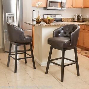 Image is loading Set-of-2-Contemporary-Brown-Leather-Swivel-Backed- & Set of 2 Contemporary Brown Leather Swivel Backed Barstools | eBay islam-shia.org