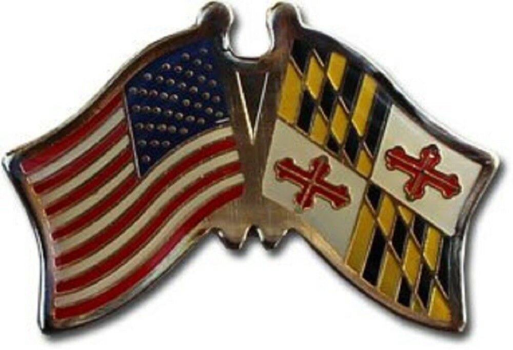 Pack of 50 USA American Maryland State Friendship Flag Bike Hat Cap lapel Pin
