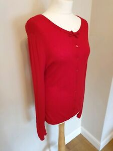 Laura-Ashley-Red-Cardigan-UK-Size-16-Summer-Extra-Layer-Bow-Spots-Buttons