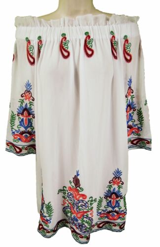 OFF SHOULDER EMBROIDERED CHIFFON TUNIC DRESS SIZE S // M // L LD414 CIAO MILANO