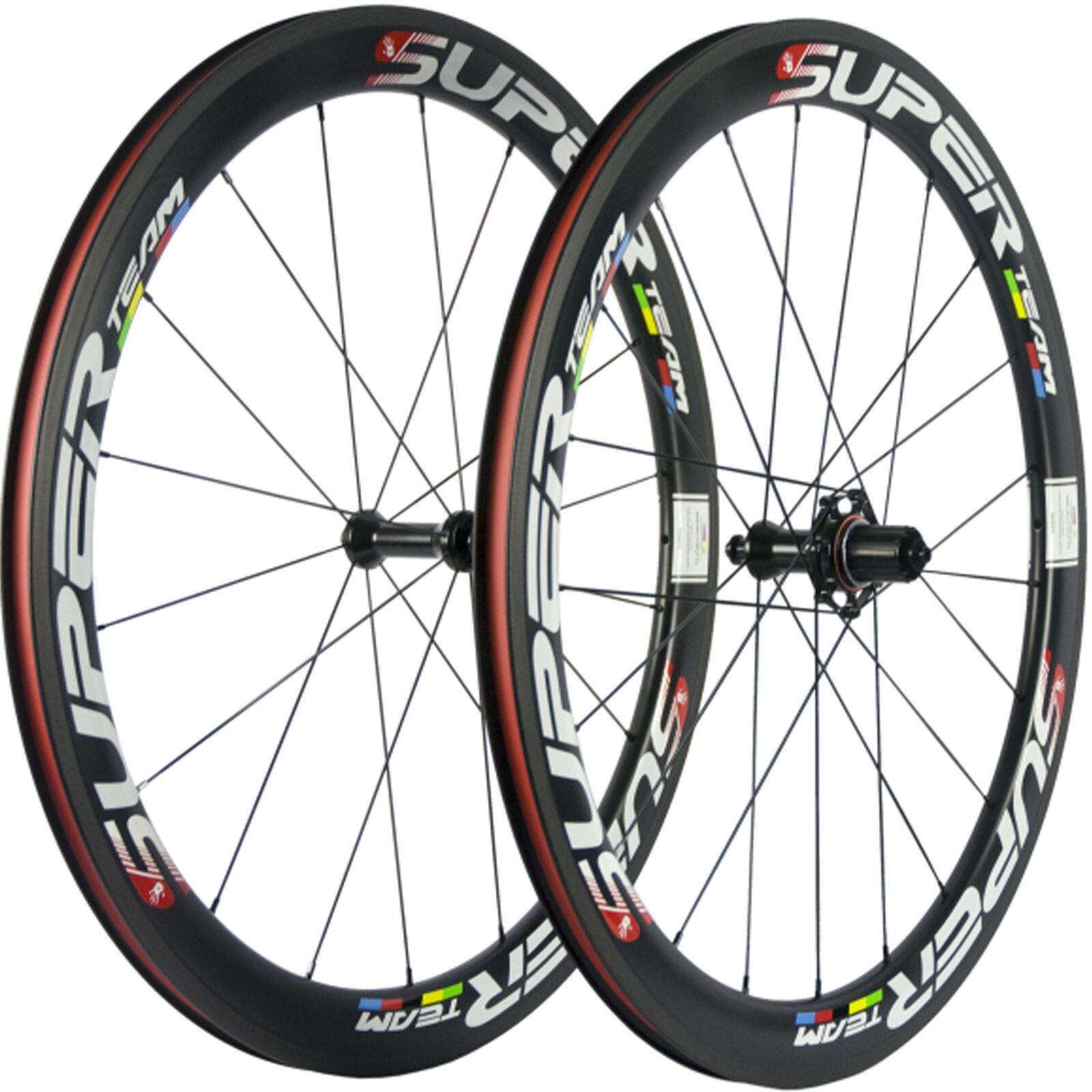 SUPERTEAM Carbon Road Wheels 50mm 25mm Width Carbon  Wheelset UD Matte Race Bike  store sale outlet