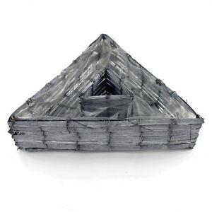 Pflanzdreieck-Bambus-grau-32cm-Dreieck-Korb-mit-Folie