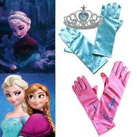 Frozen Kids Girls Princess Elsa Anna Gloves Crown Fancy Dress Tiara Party