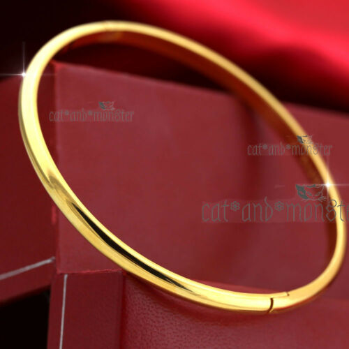 18K PLAIN YELLOW GOLD FILLED CLASSIC ROUND BAND WOMEN SOLID BANGLE BRACELET 60MM