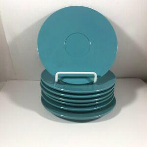 Set-of-7-Vintage-BOONTONWARE-3202-Melmac-Melamine-Blue-Saucers