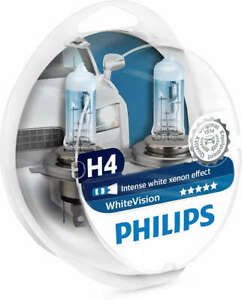 Details about Philips H4 White Vision Headlight Bulbs Intense White  12342WHVSM 1 pair +2 w5w
