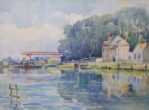 DIE-YONNE-BEI-Sens-Aquarell-Unterzeichnet-Ricard-Neo-Impressionismus-Senonai