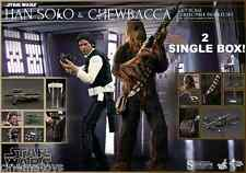 STAR WARS Han Solo and Chewbacca Sixth Scale Action Figure Hot Toys in 2 BOXES!