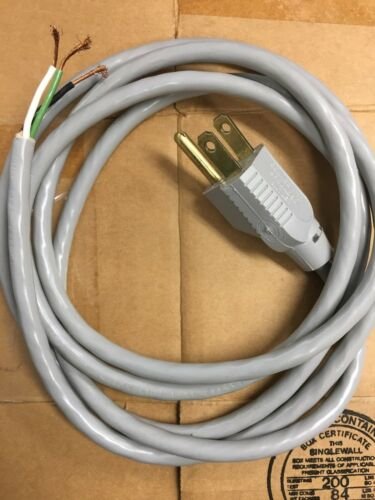 NEW 17237 Electrical Power Cord Plug 18 AWG 3 Conductor Free End 6 ft 1.8 m Grey