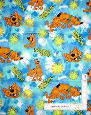 "Scooby Doo Dog Cartoon Starburst Aqua Tonal Cotton Fabric Retired 20"" Length"