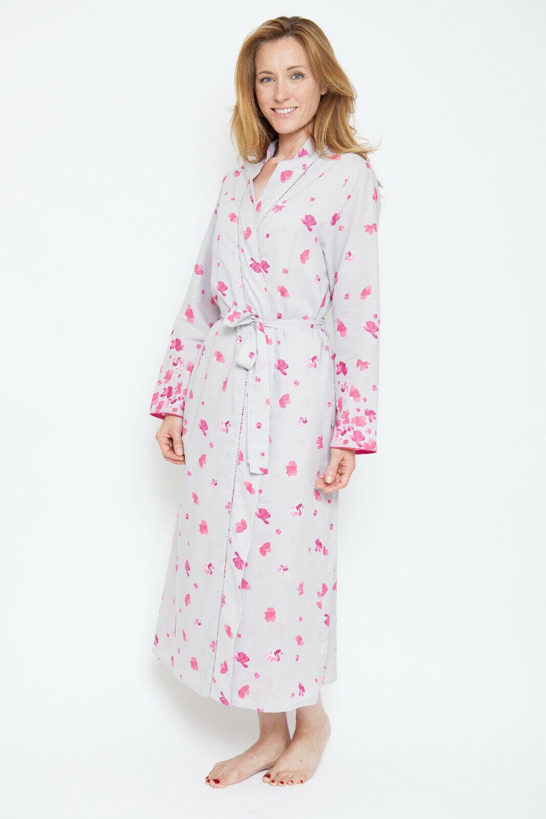 'Ivy' Vintage Petal Long Robe Dressing Gown - Nora pink by Cyberjammies (1302)