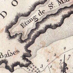 Carte-XVIIIe-Languedoc-Etang-St-Martin-Fort-de-Brescon-Conque-Cap-D-039-Agde-1764
