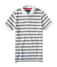 aeropostale mens striped oxford pique polo shirt
