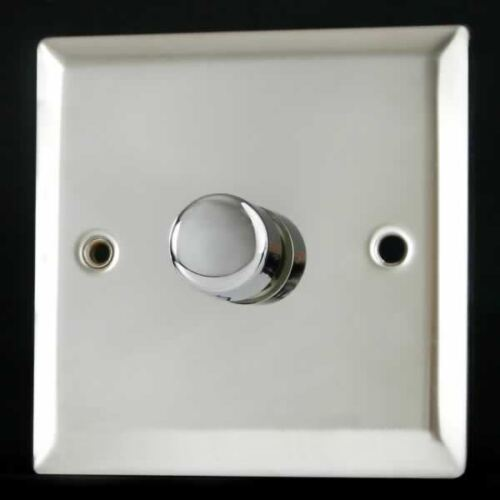 Varilight 1 Gang 1 Way 400W Rotary Dimmer Light Switch Mirror Chrome Finish HC1