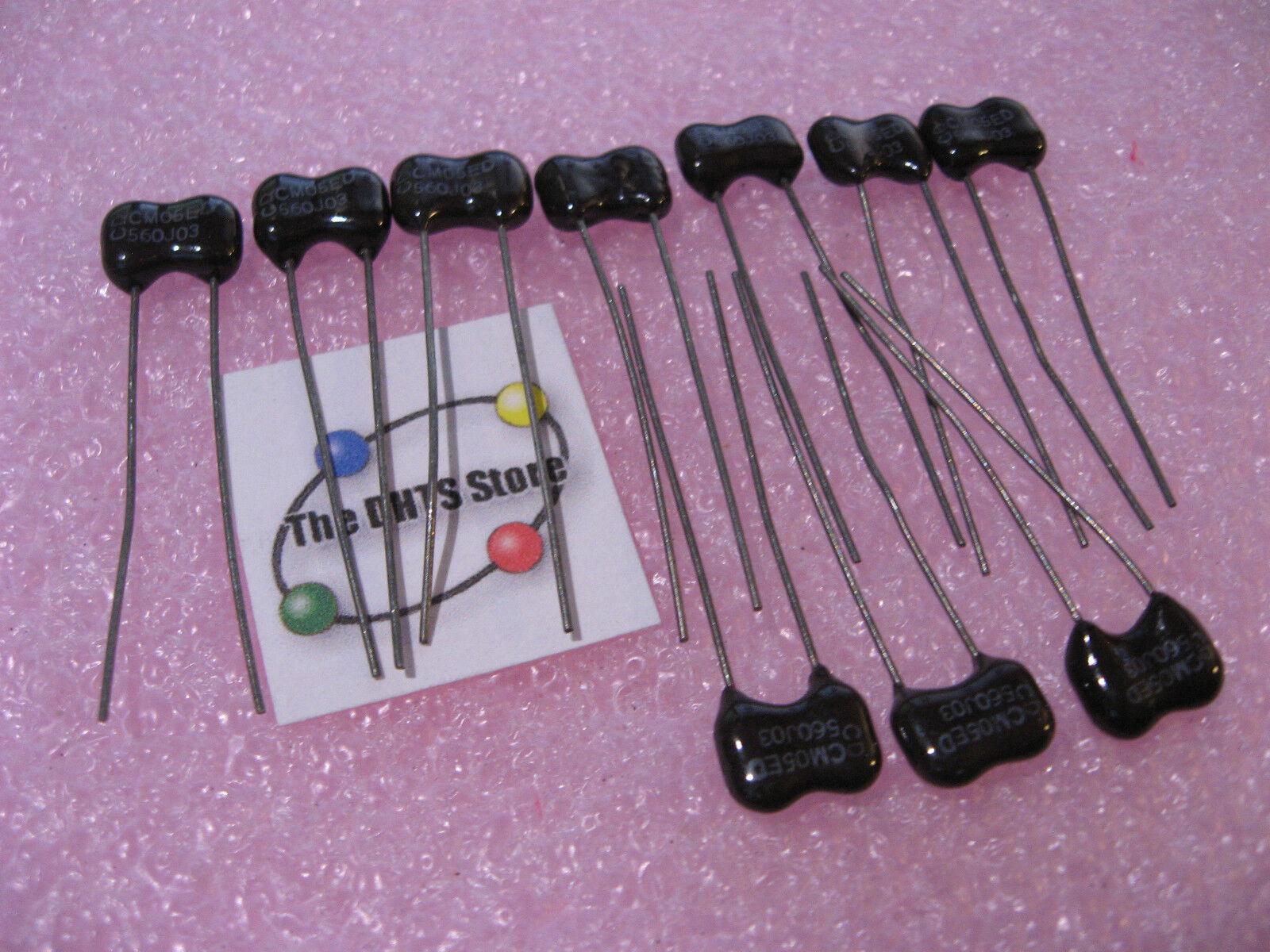 Lot of 100pcs 56pf 500V Radial Dipped Silver Mica Capacitors