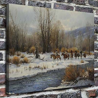 "16/""x20/"" Decor Quality Art Canvas Print Oil Painting Indians At A Distance"